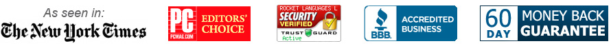 As seen in The New York Times, PC Mag Editors' Choice, Trust Guard - Security Verified, Better Business Bureau, 60 Day - Money back Guarantee